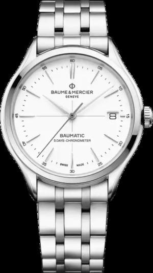 Herrenuhr Baume & Mercier Baumatic mit weißem Zifferblatt und Edelstahlarmband