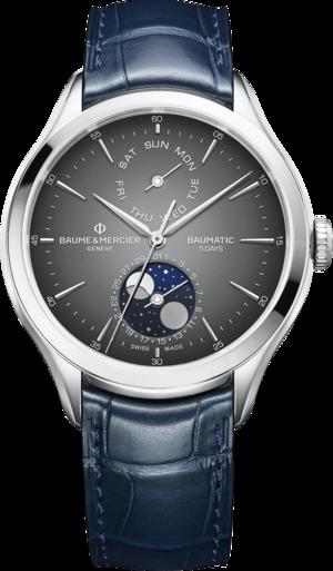 Herrenuhr Baume & Mercier Baumatic mit grauem Zifferblatt und Alligatorenleder-Armband