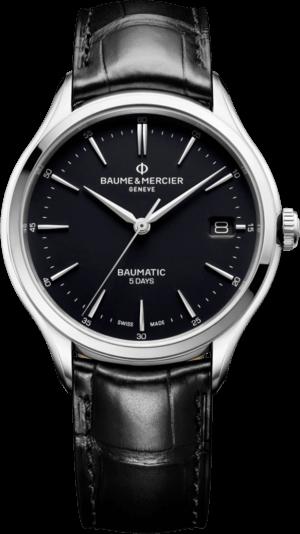 Herrenuhr Baume & Mercier Clifton Baumatic 40mm mit schwarzem Zifferblatt und Alligatorenleder-Armband