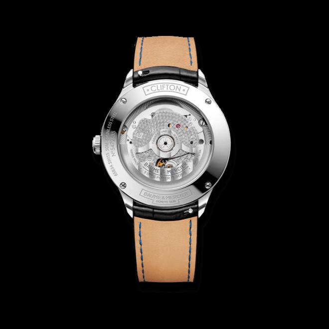 Herrenuhr Baume & Mercier Clifton Baumatic 40mm mit schwarzem Zifferblatt und Alligatorenleder-Armband bei Brogle