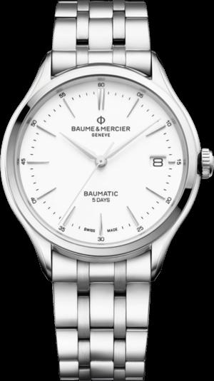 Herrenuhr Baume & Mercier Clifton Baumatic 40mm mit weißem Zifferblatt und Edelstahlarmband