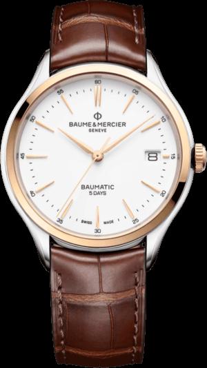 Herrenuhr Baume & Mercier Clifton Baumatic 40mm mit weißem Zifferblatt und Alligatorenleder-Armband