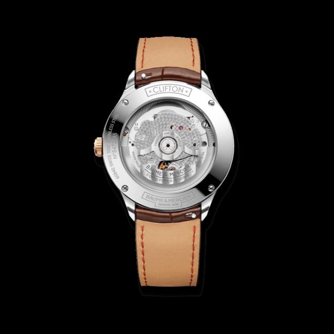 Herrenuhr Baume & Mercier Clifton Baumatic 40mm mit weißem Zifferblatt und Alligatorenleder-Armband bei Brogle