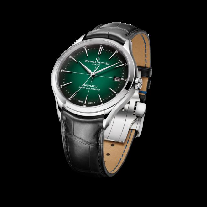 Herrenuhr Baume & Mercier Clifton Baumatic 40mm mit grünem Zifferblatt und Alligatorenleder-Armband bei Brogle