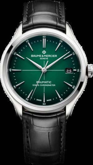 Herrenuhr Baume & Mercier Clifton Baumatic 40mm mit grünem Zifferblatt und Alligatorenleder-Armband
