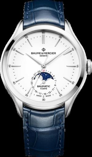 Herrenuhr Baume & Mercier Baumatic Moonphase mit weißem Zifferblatt und Alligatorenleder-Armband