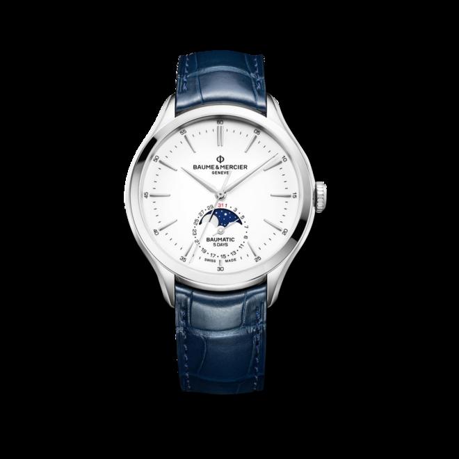 Herrenuhr Baume & Mercier Baumatic Moonphase mit weißem Zifferblatt und Alligatorenleder-Armband bei Brogle