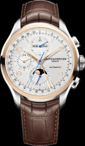 Herrenuhr Baume & Mercier Clifton Chronograph Kalender 43mm mit silberfarbenem Zifferblatt und Alligatorenleder-Armband