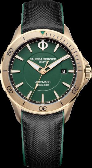 Herrenuhr Baume & Mercier Clifton Club mit grünem Zifferblatt und Kalbsleder-Armband