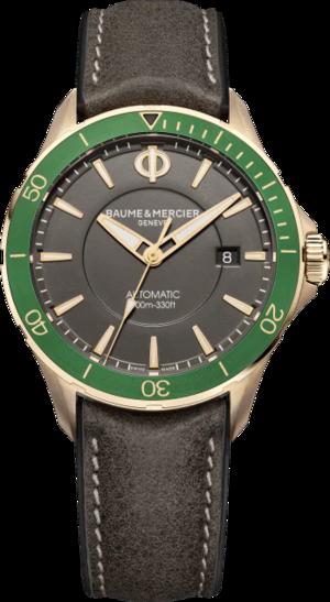 Herrenuhr Baume & Mercier Clifton Club mit grauem Zifferblatt und Kalbsleder-Armband