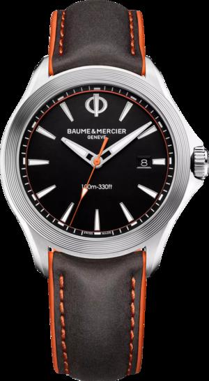 Herrenuhr Baume & Mercier Clifton Club Quarz 42mm mit schwarzem Zifferblatt und Kalbsleder-Armband