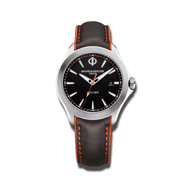 Herrenuhr Baume & Mercier Clifton Club Quarz 42mm mit schwarzem Zifferblatt und Kalbsleder-Armband bei Brogle
