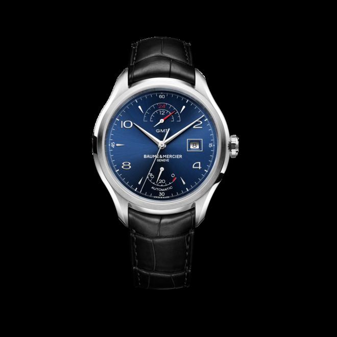 Herrenuhr Baume & Mercier Clifton GMT Gangreserve 43mm mit blauem Zifferblatt und Alligatorenleder-Armband bei Brogle