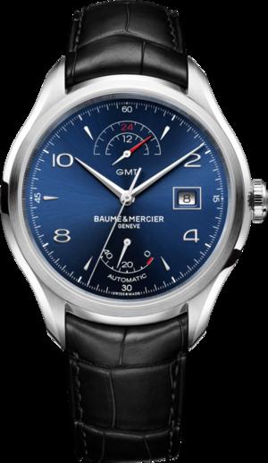 Herrenuhr Baume & Mercier Clifton GMT Gangreserve 43mm mit blauem Zifferblatt und Alligatorenleder-Armband