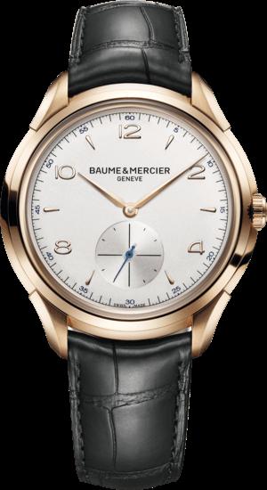 Herrenuhr Baume & Mercier Clifton Handaufzug 42mm mit silberfarbenem Zifferblatt und Alligatorenleder-Armband