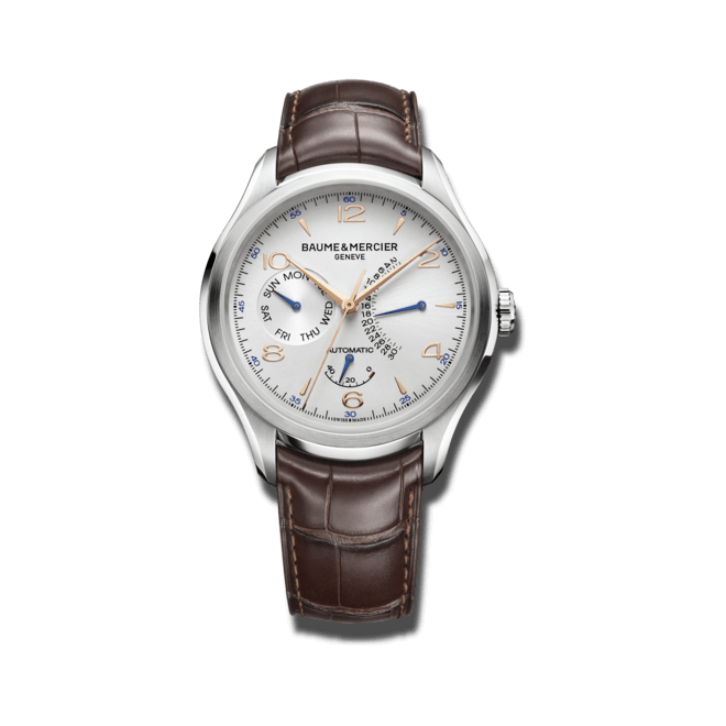 Herrenuhr Baume & Mercier Clifton Retrogarde Date 43mm mit silberfarbenem Zifferblatt und Alligatorenleder-Armband