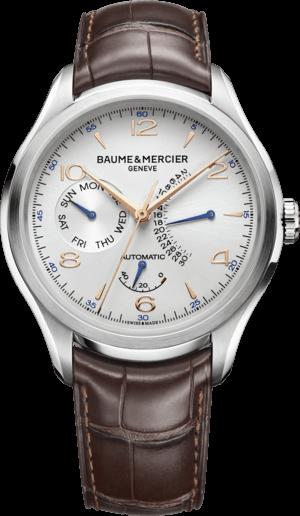 Herrenuhr Baume & Mercier Clifton Retrograde Date 43mm mit silberfarbenem Zifferblatt und Alligatorenleder-Armband