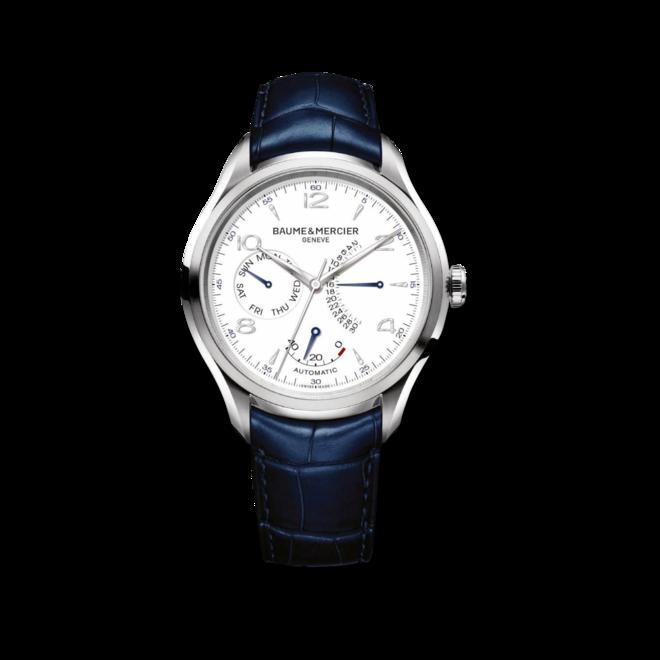 Herrenuhr Baume & Mercier Clifton Retrograde Date 43mm mit weißem Zifferblatt und Alligatorenleder-Armband bei Brogle