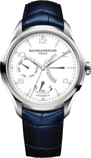Herrenuhr Baume & Mercier Clifton Retrograde Date 43mm mit weißem Zifferblatt und Alligatorenleder-Armband