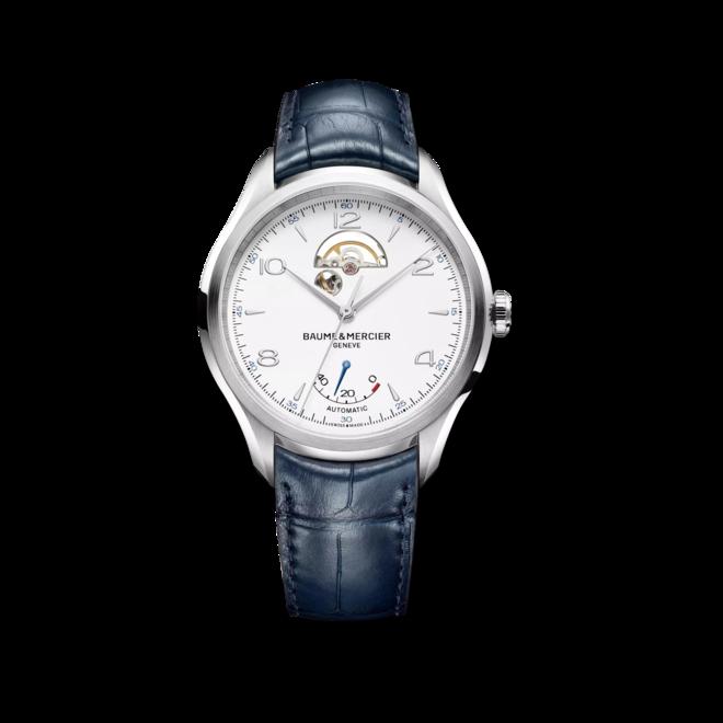 Herrenuhr Baume & Mercier Clifton Small Complications 43mm mit weißem Zifferblatt und Alligatorenleder-Armband bei Brogle