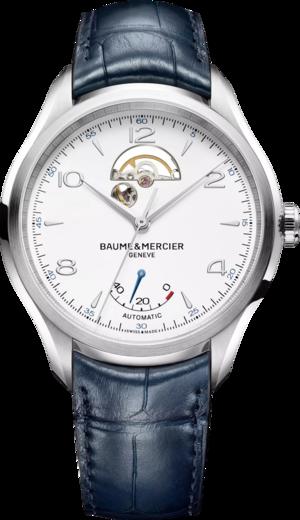 Herrenuhr Baume & Mercier Clifton Small Complications 43mm mit weißem Zifferblatt und Alligatorenleder-Armband