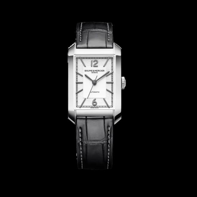 Herrenuhr Baume & Mercier Hampton Automatik 43x27,5mm mit silberfarbenem Zifferblatt und Alligatorenleder-Armband bei Brogle