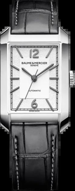 Herrenuhr Baume & Mercier Hampton Automatik 43x27,5mm mit silberfarbenem Zifferblatt und Alligatorenleder-Armband
