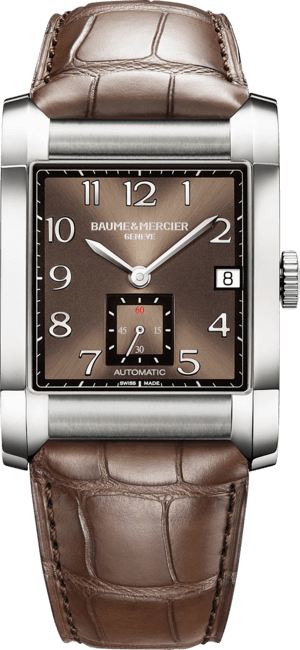 Herrenuhr Baume & Mercier Hampton Automatik 45x32mm mit braunem Zifferblatt und Alligatorenleder-Armband
