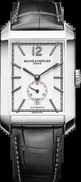 Herrenuhr Baume & Mercier Hampton Automatik 48x31mm mit silberfarbenem Zifferblatt und Alligatorenleder-Armband