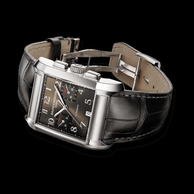 Herrenuhr Baume & Mercier Hampton Automatik Chronograph XXL mit anthrazitfarbenem Zifferblatt und Alligatorenleder-Armband
