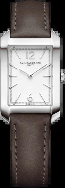 Damenuhr Baume & Mercier Hampton Quarz 34,1x22mm mit silberfarbenem Zifferblatt und Kalbsleder-Armband