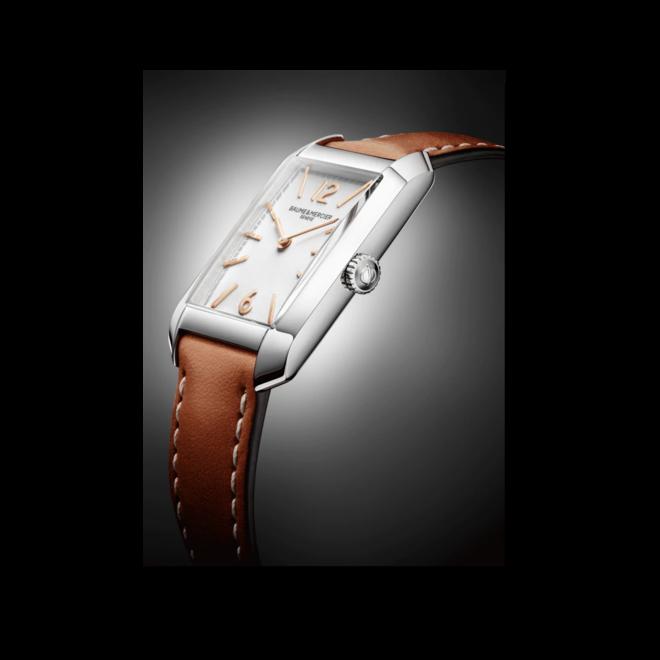 Damenuhr Baume & Mercier Hampton Quarz 34,1x22mm mit silberfarbenem Zifferblatt und Kalbsleder-Armband bei Brogle