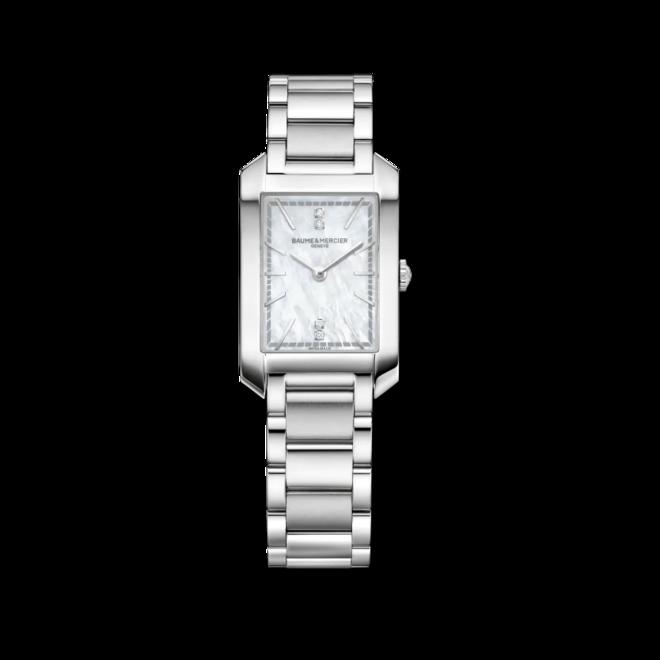 Damenuhr Baume & Mercier Hampton Quarz 34,1x22mm mit Diamanten, perlmuttfarbenem Zifferblatt und Edelstahlarmband bei Brogle