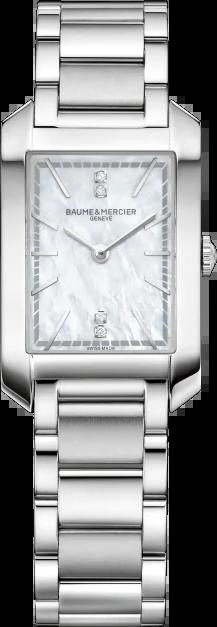 Damenuhr Baume & Mercier Hampton Quarz 34,1x22mm mit Diamanten, perlmuttfarbenem Zifferblatt und Edelstahlarmband