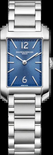Damenuhr Baume & Mercier Hampton Quarz 34,1x22mm mit blauem Zifferblatt und Edelstahlarmband
