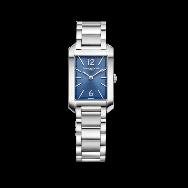 Damenuhr Baume & Mercier Hampton Quarz 34,1x22mm mit blauem Zifferblatt und Edelstahlarmband bei Brogle