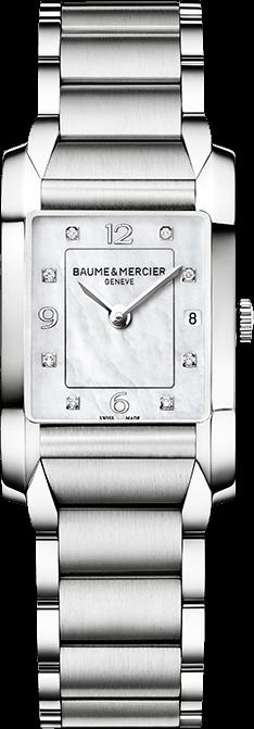 Damenuhr Baume & Mercier Hampton Quarz 34,5x22mm mit Diamanten, perlmuttfarbenem Zifferblatt und Edelstahlarmband