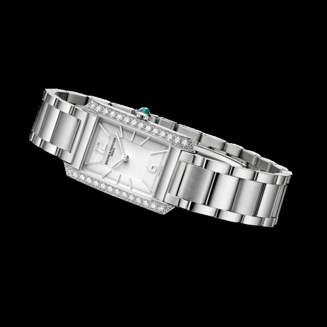 Damenuhr Baume & Mercier Hampton Quarz 35 x 22,2mm mit Diamanten, silberfarbenem Zifferblatt und Edelstahlarmband bei Brogle