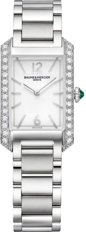 Damenuhr Baume & Mercier Hampton Quarz 35 x 22,2mm mit Diamanten, silberfarbenem Zifferblatt und Edelstahlarmband