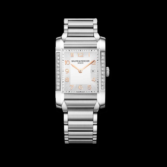 Damenuhr Baume & Mercier Hampton Quarz 40x27mm mit Diamanten, silberfarbenem Zifferblatt und Edelstahlarmband