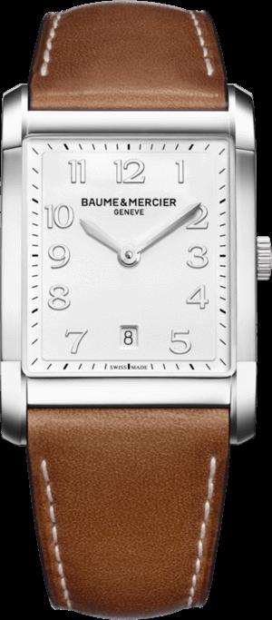 Herrenuhr Baume & Mercier Hampton Quarz 43x29mm mit weißem Zifferblatt und Kalbsleder-Armband