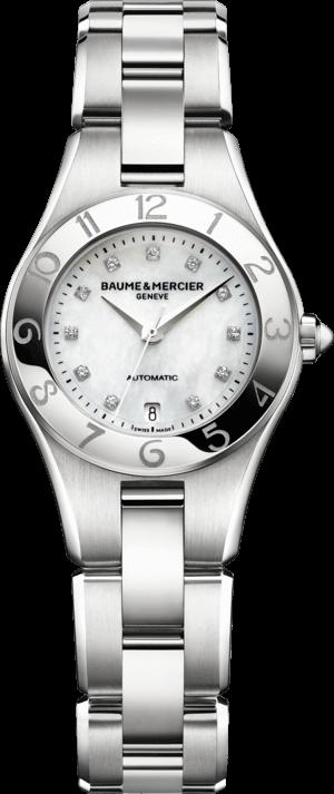 Damenuhr Baume & Mercier Linea Automatik 27mm mit Diamanten, perlmuttfarbenem Zifferblatt und Edelstahlarmband