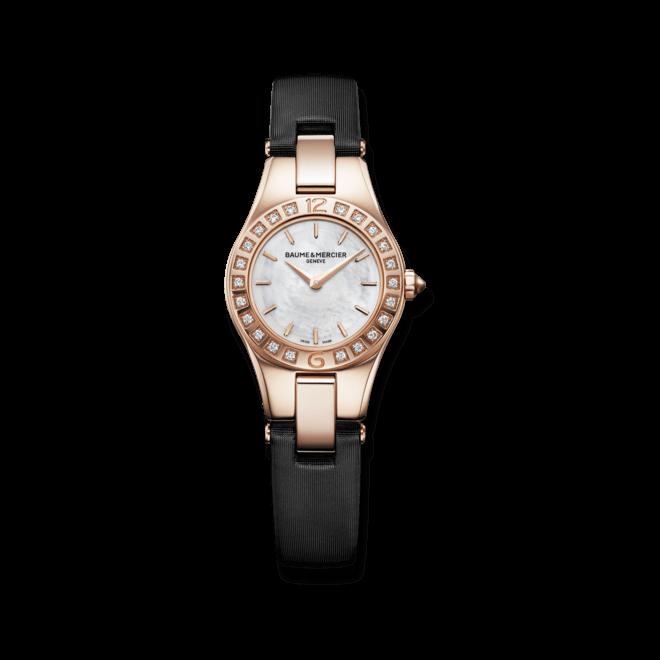 Damenuhr Baume & Mercier Linea Quarz 26mm mit Diamanten, perlmuttfarbenem Zifferblatt und Satinarmband