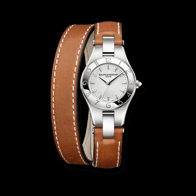 Damenuhr Baume & Mercier Linea Quarz 27mm mit silberfarbenem Zifferblatt und Kalbsleder-Armband