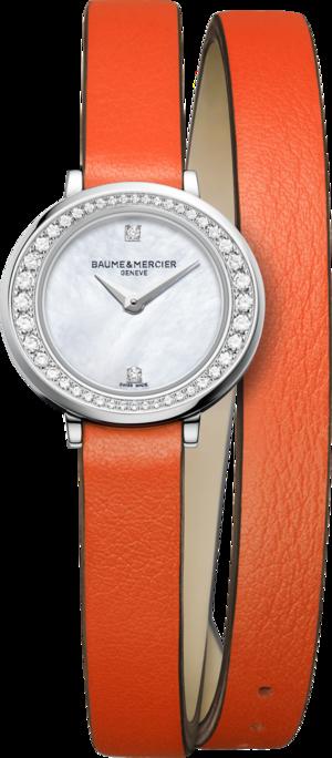 Damenuhr Baume & Mercier Petite Promesse mit Diamanten, perlmuttfarbenem Zifferblatt und Kalbsleder-Armband