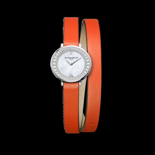 Damenuhr Baume & Mercier Petite Promesse mit Diamanten, perlmuttfarbenem Zifferblatt und Kalbsleder-Armband bei Brogle