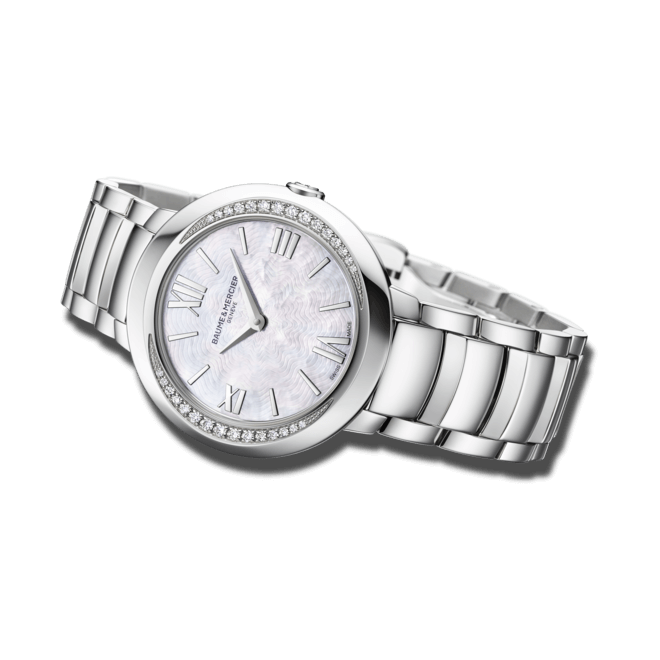 Damenuhr Baume & Mercier Promesse Quarz 30mm mit Diamanten, weißem Zifferblatt und Edelstahlarmband