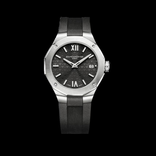Damenuhr Baume & Mercier Riviera Quarz 36mm mit Diamanten, schwarzem Zifferblatt und Kautschukarmband bei Brogle
