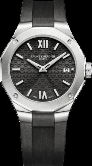 Damenuhr Baume & Mercier Riviera Quarz 36mm mit Diamanten, schwarzem Zifferblatt und Kautschukarmband