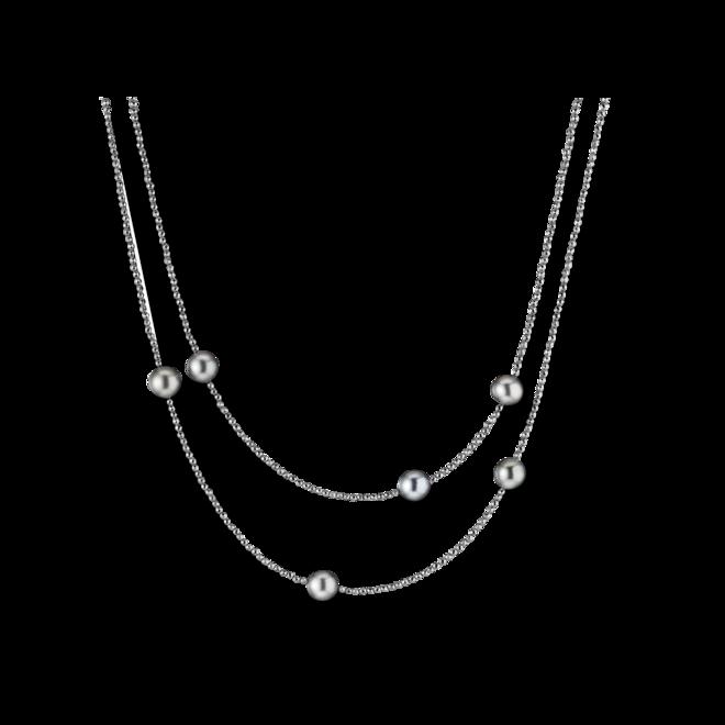 Halskette Gellner Big Bang aus 925 Sterlingsilber mit 6 Tahiti-Perlen und mehreren Hämatiten bei Brogle